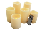 EcoGecko Set of 6 Outdoor Flameless Candles with Remote Timer Plastic Realistic Flickering Battery Operated LED Pillar Melted Edge Party Wedding Pool Patio Home Holiday Décor Gifts