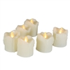 EcoGecko Indoor Outdoor 6 Piece LED Flameless Votive Candles Battery Operated with Timer - with wax melt looking Drips