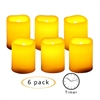 "Candle Choice Flameless LED Battery Votive Candles w Timer Realistic Flickering Battery Operated Votives Electric Candles Size-1.5""(D)x2""(H) w/ Waved Edge Batteries Included 6-Pack"