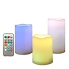 Candle Choice 3 Pc Outdoor Color Changing Flameless Candles with Remote Timer Plastic Realistic Flickering Multi-color Battery Operated LED Pillars Party, Wedding Birthday Home Holiday Decor Gifts