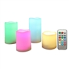 Candle Choice 4 Piece Outdoor Color Changing Flameless Candles with Remote andTimer Realistic Flickering Multi-color Battery Operated, 4 LED Pillars, 3x3, 3x4,3x5 and 3x6