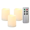 "Candle Choice 3 Piece Outdoor Indoor Flameless LED Battery Operated Candles with Remote and Timer Long Lasting Waterproof Realistic Flickering Electric Pillar Candles 3-Pack Size-3""(D)x4""(H)"