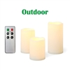 "Candle Choice 3 PCS Outdoor Flameless Candles with Remote and Timer, Realistic Flickering LED Pillar Candles, Weatherproof Battery Operated Candles, Long Battery Life, Melted Edge 3""x4"", 5"", 6"""