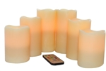 EcoGecko Vanilla Scented Set of 6 Wax Multi-Color Flameless LED Pillar Candles with Remote & Timer, Ivory