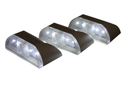 EcoGecko 4 Super Bright White LED Auto PIR Sensitive LED Light, 3 Pack, Silver