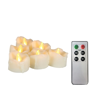 "EcoGecko Set of 6 Tealight/Votives Flameless LED Tea Lights with Remote & Timer Realistic Flickering Battery-operated Tealight Candles with Drips 1.5""x1.5"" Long Lasting Batteries Included"