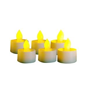 EcoGecko Set of 6 Indoor/Outdoor Tealight Votive Flameless LED Candles with Timer, 400 hour Battery Life