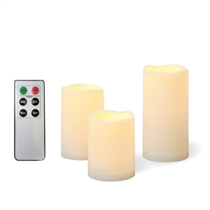 EcoGecko 3 Piece Outdoor Waterproof Flameless Candles with Remote Timer Plastic Realistic Flickering Battery Operated LED Pillar Melted Edge