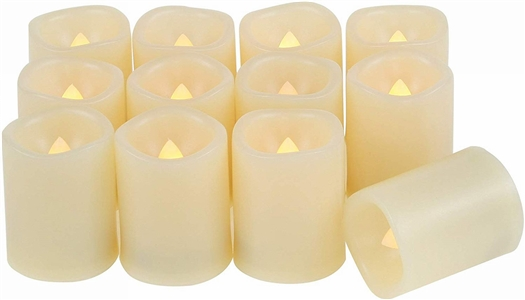 EcoGecko Indoor/Outdoor Set of 6 Flameless Votive Candles with 6 hour Timer, Batteries Included