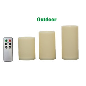 "Candle Choice 3 PCS Outdoor Flameless Candles with Remote and Timer, Realistic Flickering LED Pillar Candles, Weatherproof Battery Operated Candles, Long Battery Life, Even Edge 3""x4"", 5"", 6"""
