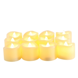 "Candle Choice 12 Piece Flameless LED Battery Operated Votive Candles Realistic Flickering Battery Powered Tea Lights Electric Tealights Size-1.5""(D)x1.5""(H) 12-pack Long Lasting Batteries Included"